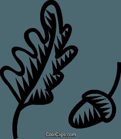 Acorn With Oak Leaf Royalty Free Vector Clip Art Illustration