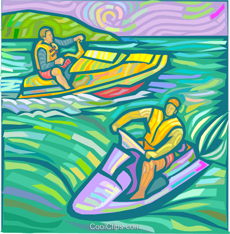 People on Jet skis Royalty Free Vector Clip Art illustration vc024843