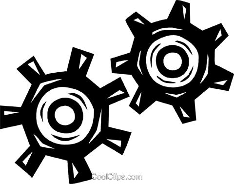 齿轮 免版税矢量剪贴画插图
