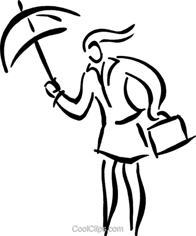 person with an umbrella Royalty Free Vector Clip Art illustration vc026637