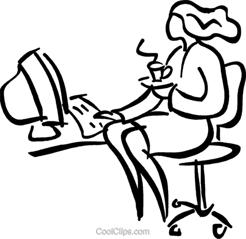 woman having a cup of coffee at her desk Royalty Free Vector Clip Art illustration vc026646