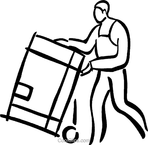 man with a shipping crate Royalty Free Vector Clip Art illustration vc026649
