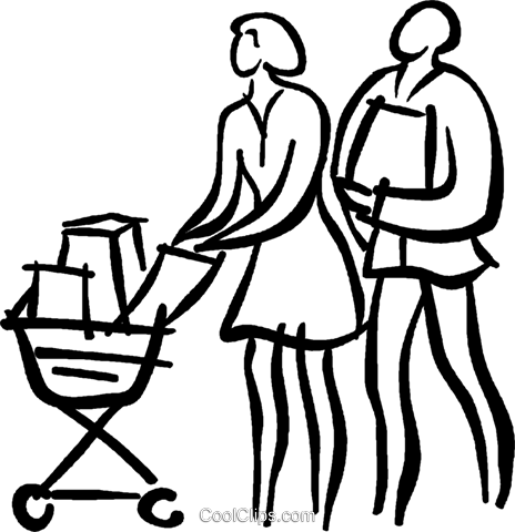 couple grocery shopping Royalty Free Vector Clip Art illustration vc026661