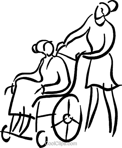 nurse with a person in a wheelchair Royalty Free Vector Clip Art illustration vc026669