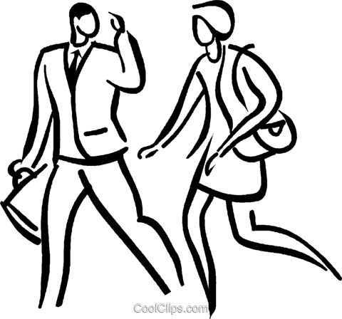 couple talking and walking Royalty Free Vector Clip Art illustration vc026672