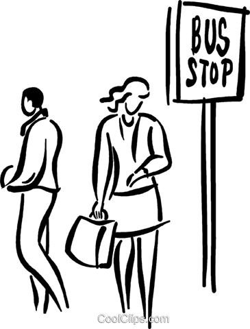 people waiting at the bus stop Royalty Free Vector Clip Art illustration vc026677