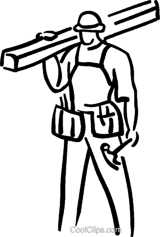 carpenter with hammer and lumber Royalty Free Vector Clip Art illustration vc026684