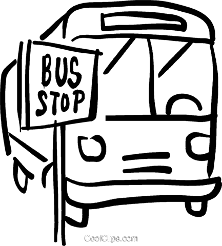 bus st the bus stop Royalty Free Vector Clip Art illustration vc026687