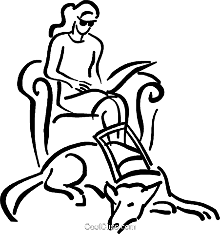 blind person with a seeing eye dog Royalty Free Vector Clip Art illustration vc026700