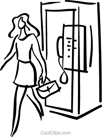 woman walking out of a phone booth Royalty Free Vector Clip Art illustration vc026713