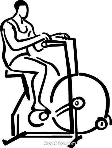 person riding a stationary bike Royalty Free Vector Clip Art illustration vc026719