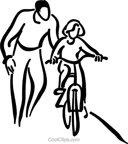 Little girl learning to ride a bicycle Royalty Free Vector Clip Art illustration vc026722