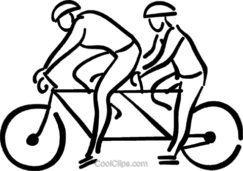 two person bicycle Royalty Free Vector Clip Art illustration vc026723