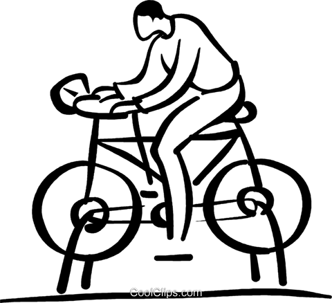 man riding stationary bike Royalty Free Vector Clip Art illustration vc026725