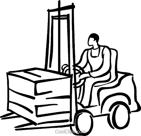person driving a forklift Royalty Free Vector Clip Art illustration vc026726