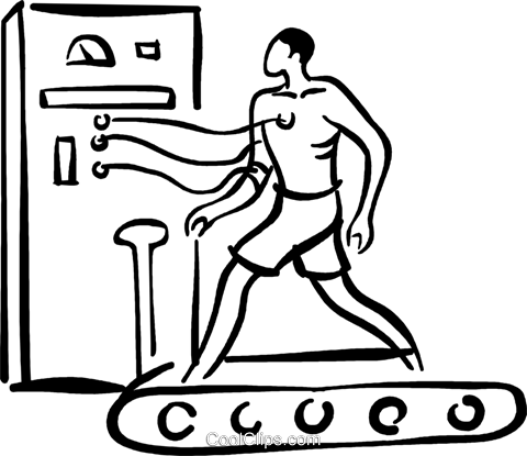 man having and ECG on treadmill Royalty Free Vector Clip Art illustration vc026728