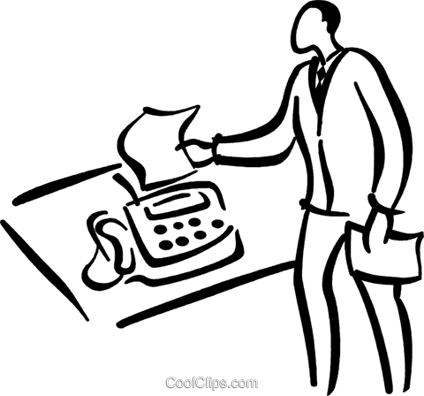 man at fax machine Royalty Free Vector Clip Art illustration vc026756