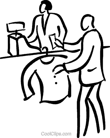 man buying a sweater Royalty Free Vector Clip Art illustration vc026761