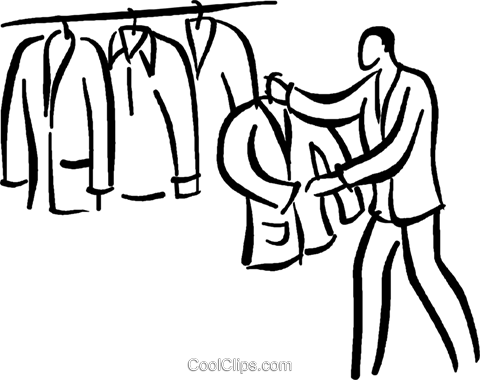 man shopping for a suit Royalty Free Vector Clip Art illustration vc026762