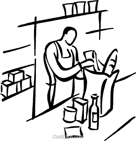 grocery clerk bagging groceries Royalty Free Vector Clip Art illustration vc026767
