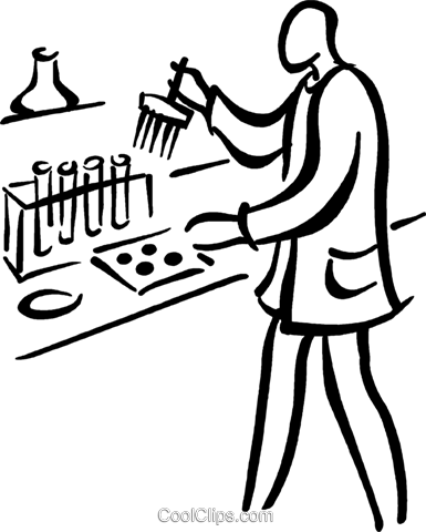 lab technician performing tests Royalty Free Vector Clip Art illustration vc026768