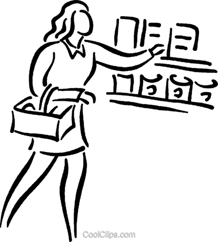 woman food shopping Royalty Free Vector Clip Art illustration vc026788