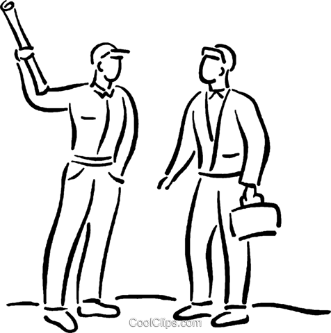 construction workers having a discussion Royalty Free Vector Clip Art illustration vc026789