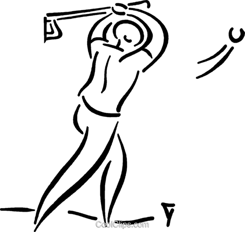 Golfer hitting the ball Royalty Free Vector Clip Art illustration vc026792