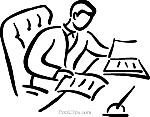 man doing paper work at his desk Royalty Free Vector Clip Art illustration vc026794
