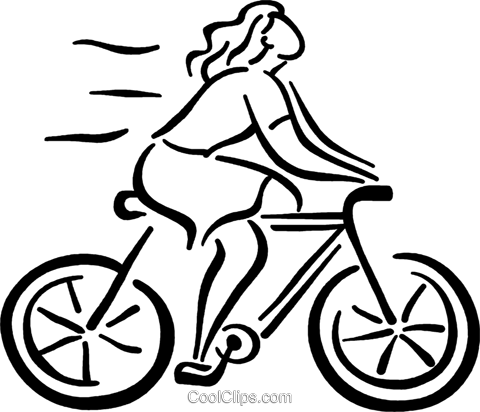 woman on her bike Royalty Free Vector Clip Art illustration vc026795