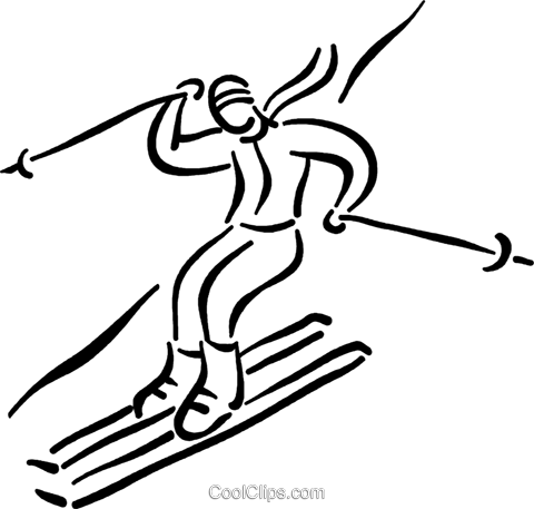person downhill skiing Royalty Free Vector Clip Art illustration vc026796