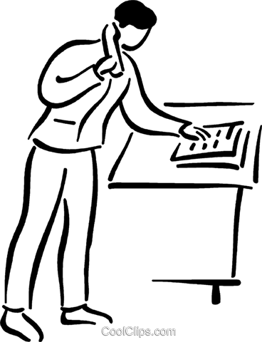 man making a phone call Royalty Free Vector Clip Art illustration vc026797