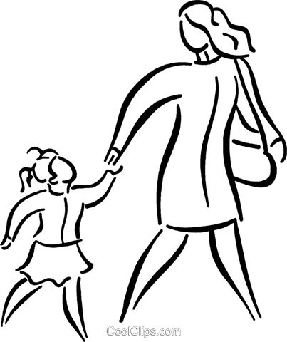 mother and daughter Royalty Free Vector Clip Art illustration vc026798