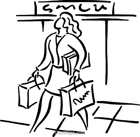 woman leaving department store Royalty Free Vector Clip Art illustration vc026802
