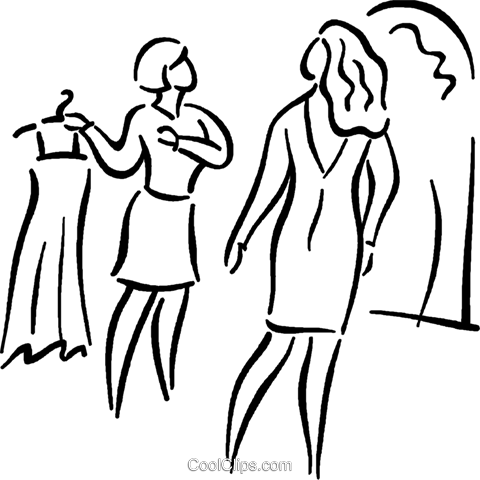 woman shopping for a dress Royalty Free Vector Clip Art illustration vc026803