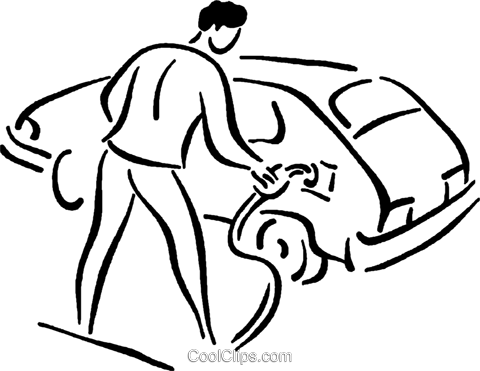 man putting gas in his car Royalty Free Vector Clip Art illustration vc026804