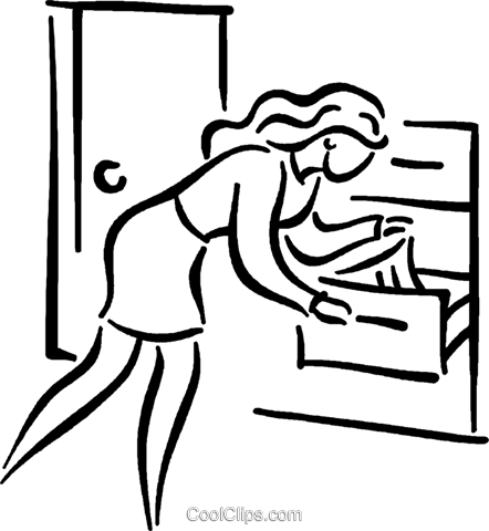 woman looking for clothes in her drawer Royalty Free Vector Clip Art illustration vc026805