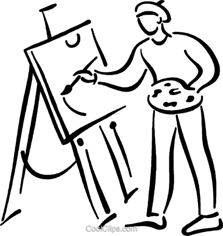artist painting picture Royalty Free Vector Clip Art illustration vc026806
