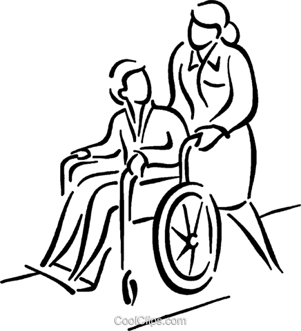nurse pushing patient in a wheelchair Royalty Free Vector Clip Art illustration vc026812