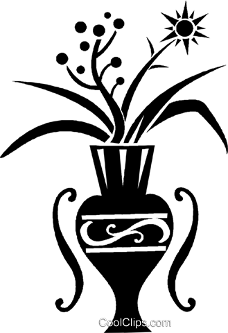 flowers in a vase Royalty Free Vector Clip Art illustration vc026814