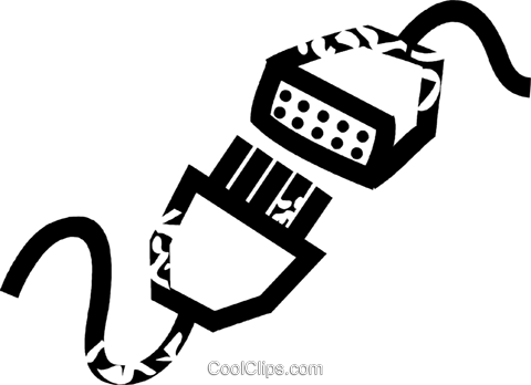 computer cables Royalty Free Vector Clip Art illustration vc026926