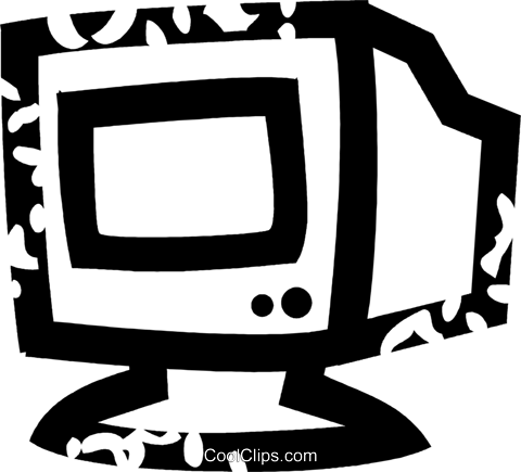computer monitor Royalty Free Vector Clip Art illustration vc026929