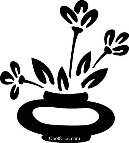 potted plant Royalty Free Vector Clip Art illustration vc026997