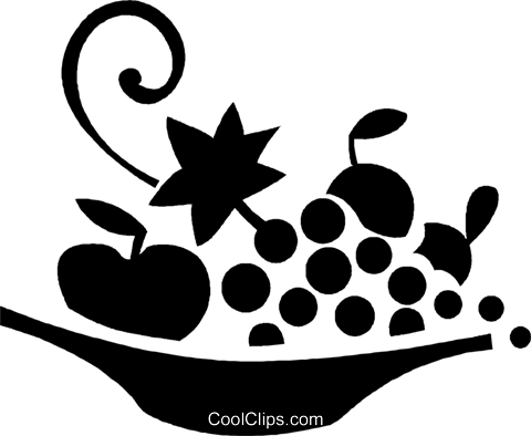 bowl of fruit Royalty Free Vector Clip Art illustration vc027053