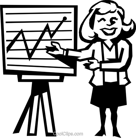 woman presenting sales figures Royalty Free Vector Clip Art illustration vc027204