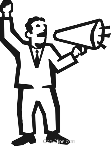 man with a megaphone Royalty Free Vector Clip Art illustration vc027205