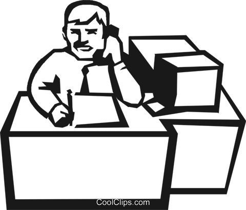 man talking on the phone at his desk Royalty Free Vector Clip Art illustration vc027208
