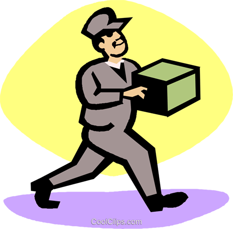 delivery man Royalty Free Vector Clip Art illustration vc027214