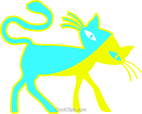black cat Royalty Free Vector Clip Art illustration vc027279