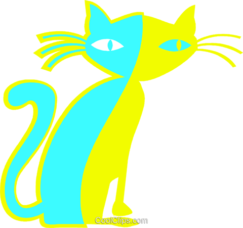 black cat Royalty Free Vector Clip Art illustration vc027280